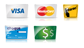 Visa, Mastercard, Interac, Cheque, Cash